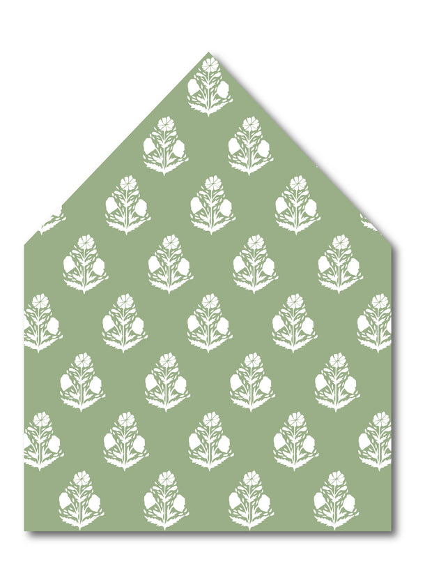 Green Scallop Flower Envelope Liner