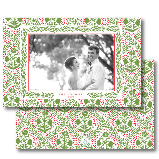 Holly Trellis - Landscape Christmas Card
