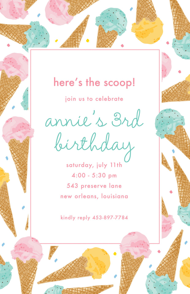 Ice Cream Border Invitation
