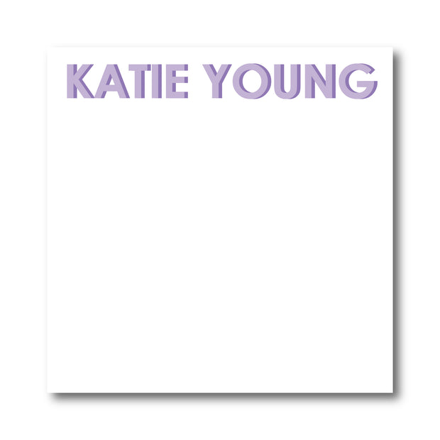 Lavender Block Letters Notepad
