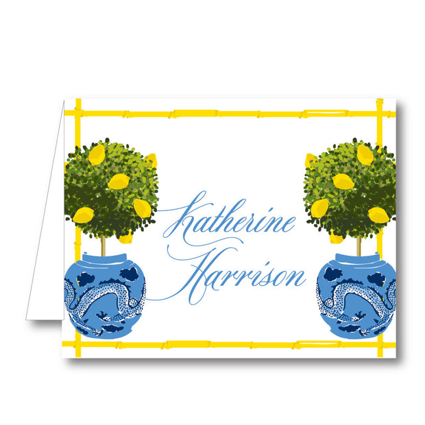 Lemon Topiary Folded Notecard