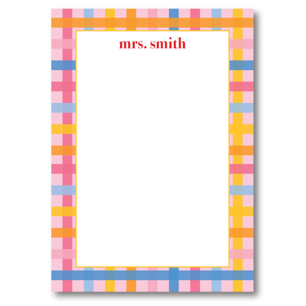 Multi Pink Check Notepad