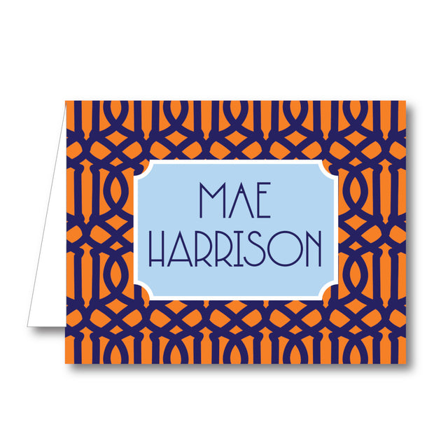 Navy Orange Trellis Folded Notecard