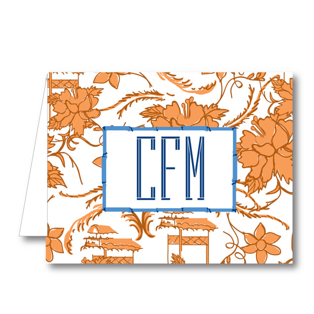 China Floral - Orange Folded Notecard