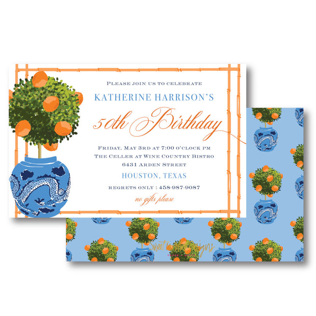 Orange Topiary Invitation