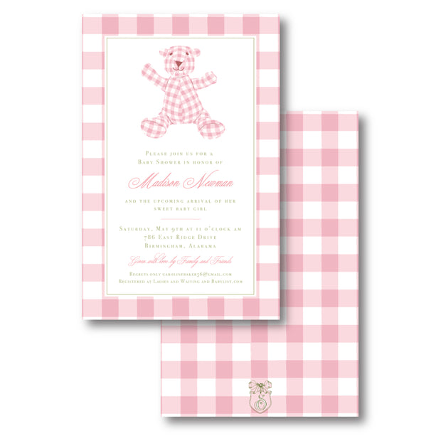Pink Bear Border Invitation