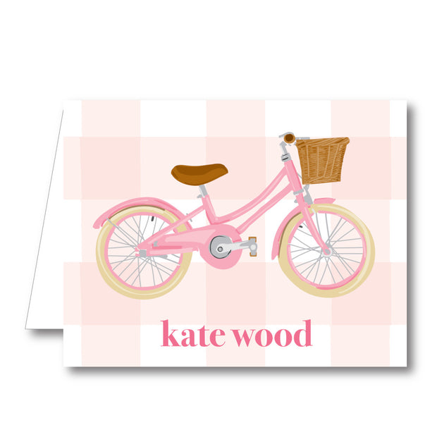Pink Bike Folded Notecard