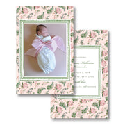Pink Botanical Birth Announcement