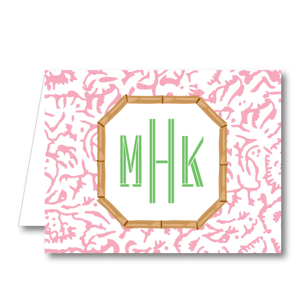 Pink Carnation Folded Notecard