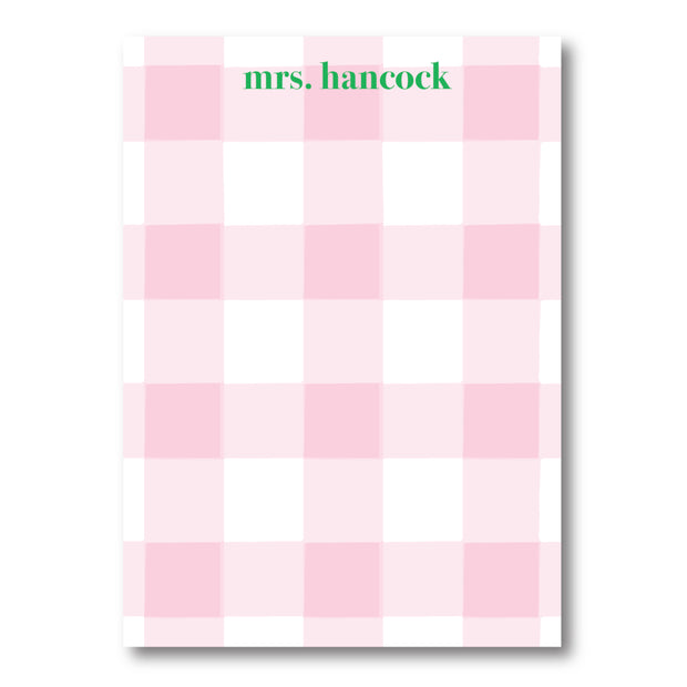 Pink Check Notepad