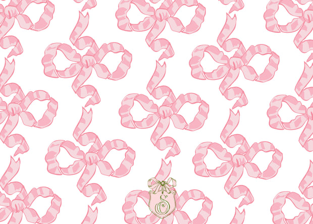 Pink Chintz Bow Stationery