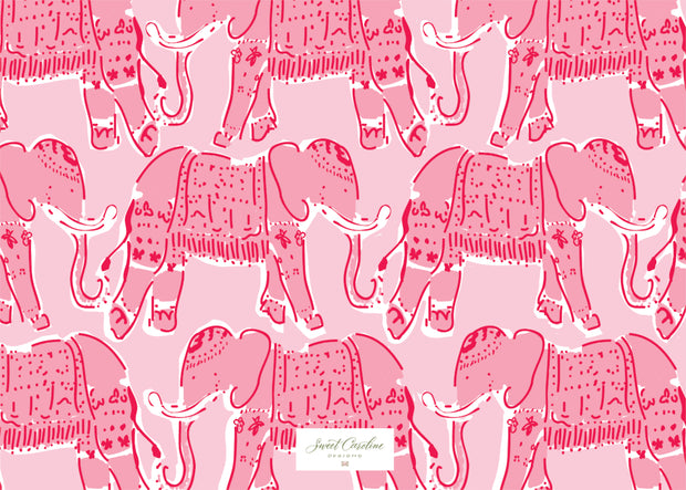 Pink Elephant Fill in the Blank Stationery