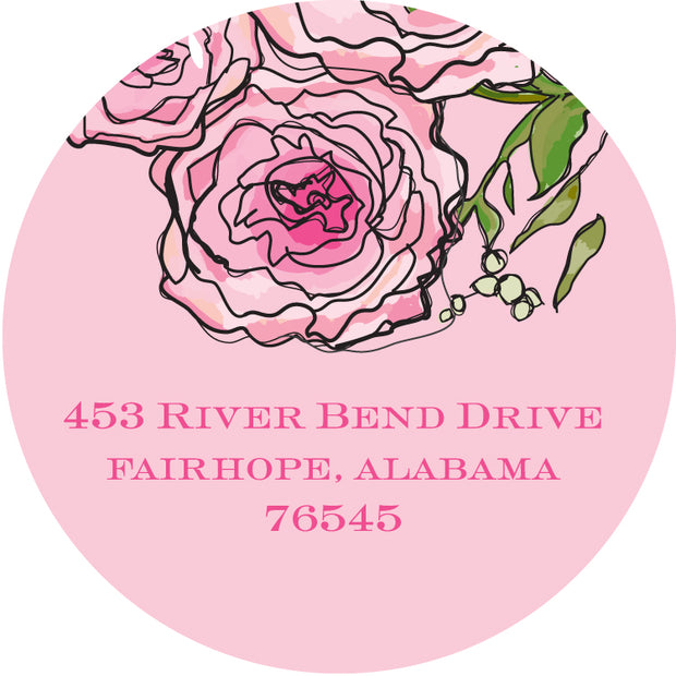 Pink Floral Return Sticker
