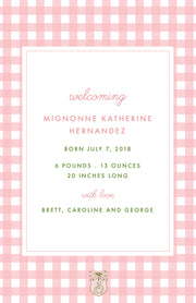 Pink Geranium Birth Announcement