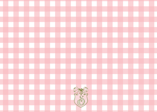 Pink Check Bow Stationery