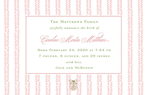 Pink Leaf Birth Announcement