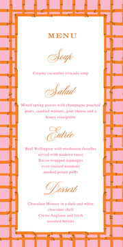 Pink Orange Bamboo Menu