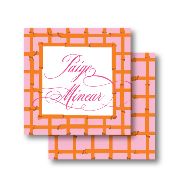 Pink Orange Bamboo Calling Card