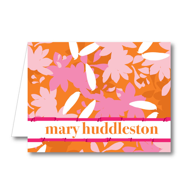 Pink Orange Floral Folded Notecard
