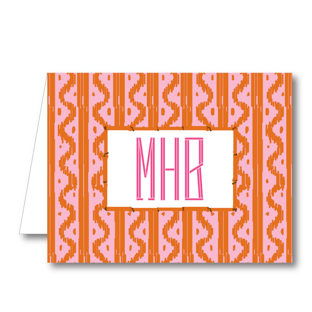 Pink Orange Waves Folded Notecard
