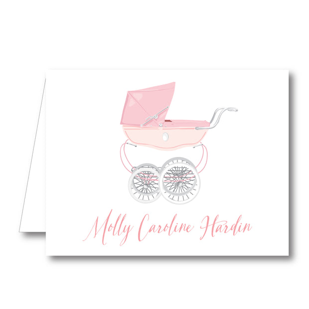 Pink Pram Folded Notecard