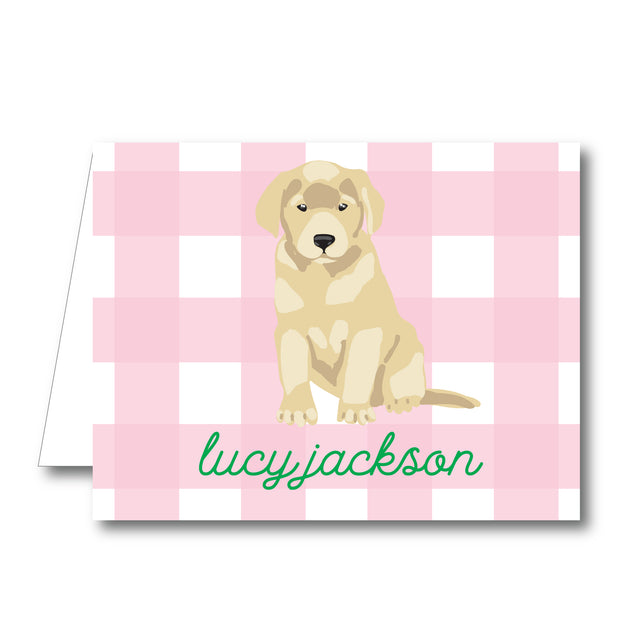 Pink Puppy Folded Notecard