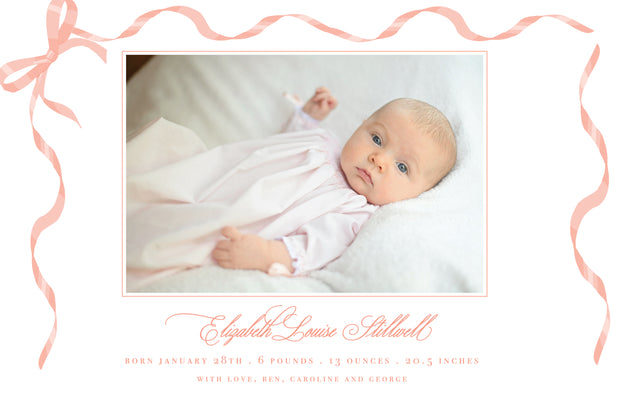 Pink Ribbon Birth Announcement - Landscape