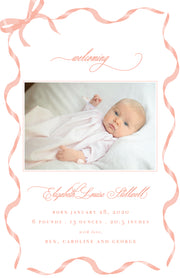 Pink Ribbon Birth Announcement - Portrait