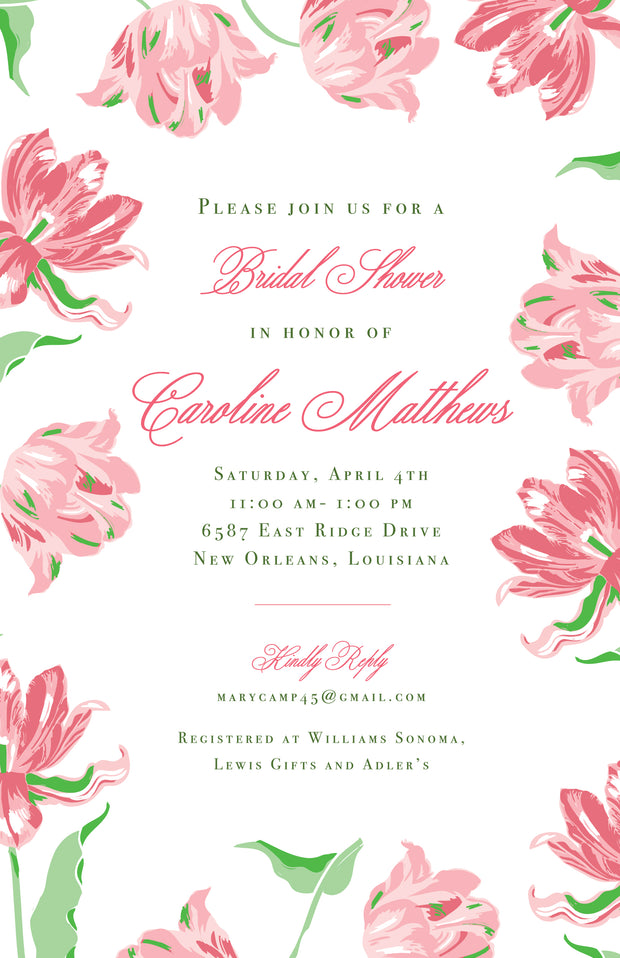 Pink Tulips Invitation - Portrait