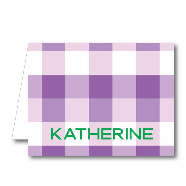 Purple Check Folded Notecard