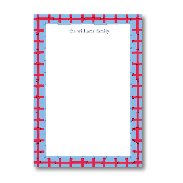 Red Blue Bamboo Notepad