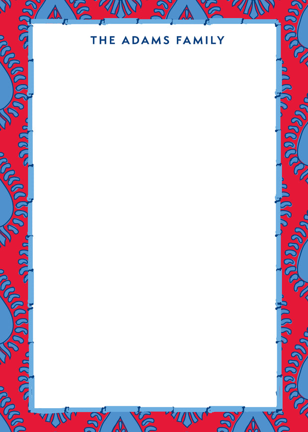 Red Blue Paisley Notepad