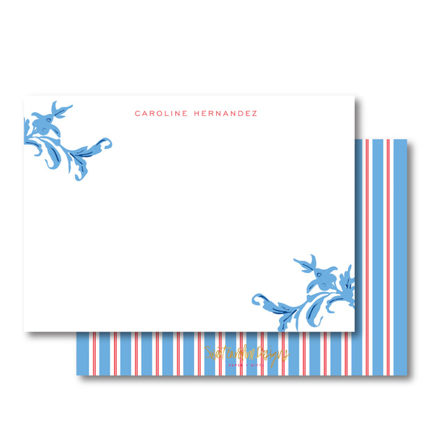Red Blue Stripe Stationery