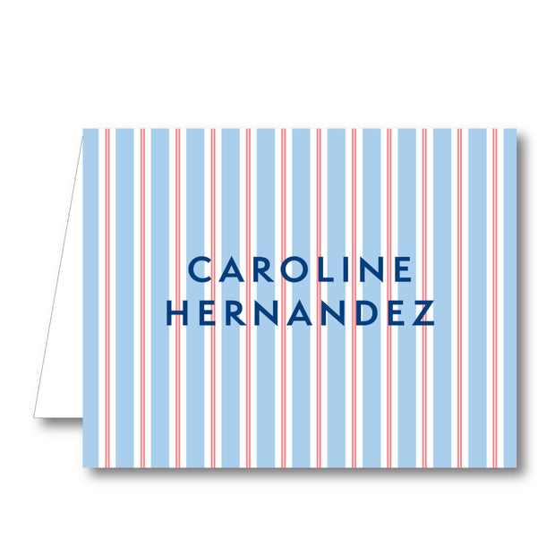 Red Blue Stripe Folded Notecard