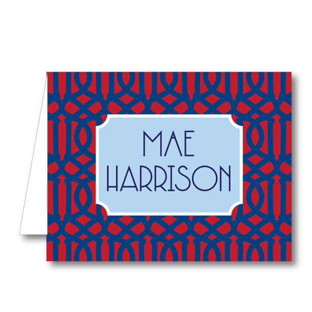 Red Blue Trellis Folded Notecard