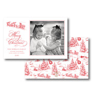 Red Christmas Toile - Landscape Christmas Card