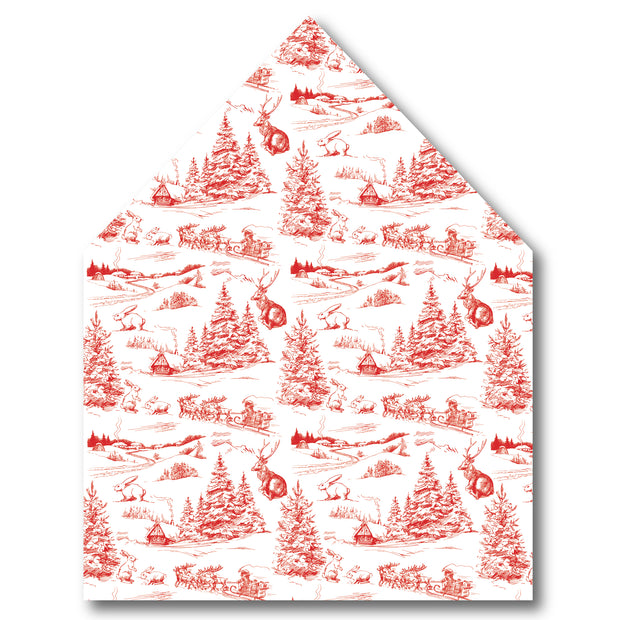 Red Christmas Toile Envelope Liner