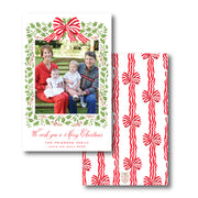 Red Stripe Bow Border - Portrait Christmas Card