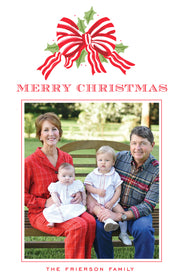 Red Stripe Bow - Portrait Christmas Card