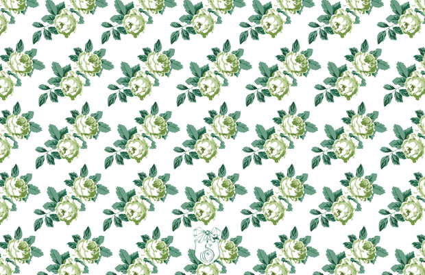 Rose Chintz Green - Landscape Christmas Card