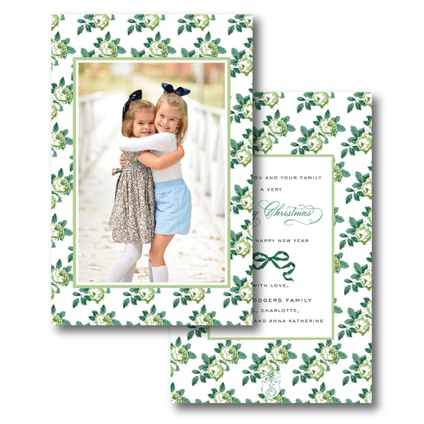 Rose Chintz Green - Portrait Christmas Card