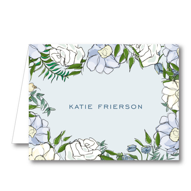 Spring Floral - Blue Folded Notecard