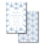 Blue & White Vintage Bows Invitation