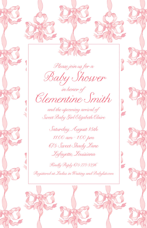 Pink & White Vintage Bows Invitation
