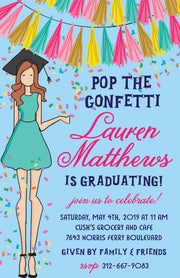 Graduation Girl - Red Hair Invitation