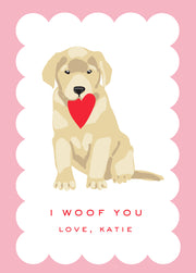 Woof You Yellow Lab in Pink Valentine