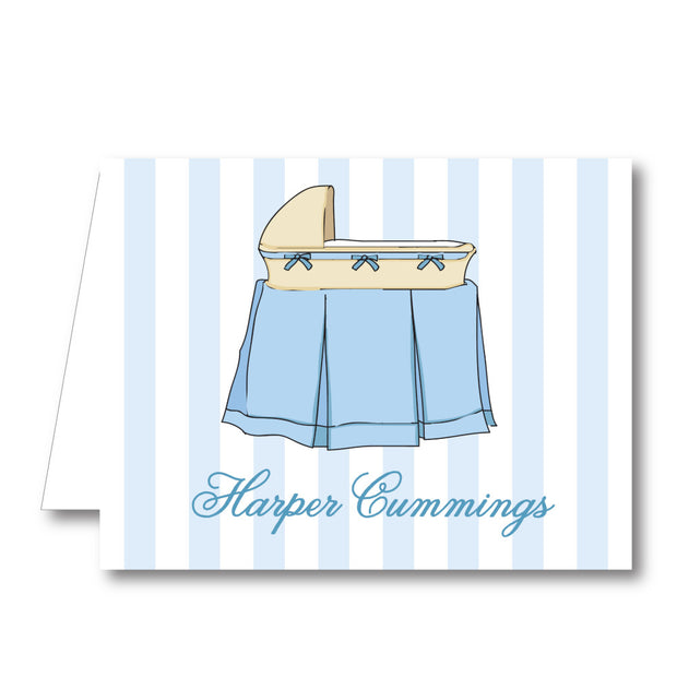 Blue Bassinet Stripe Folded Notecard