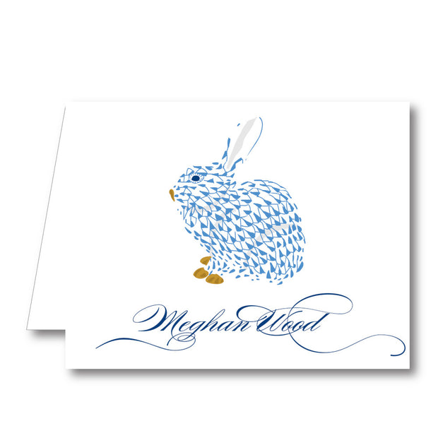Blue Bunny Folded Notecard