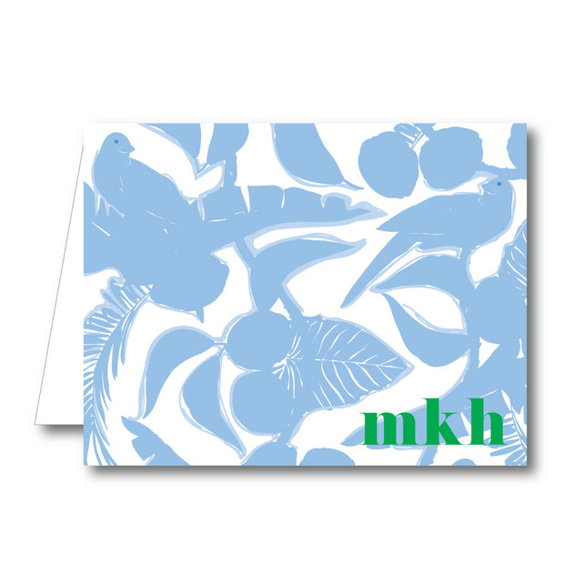 Light Blue Floral Folded Notecard