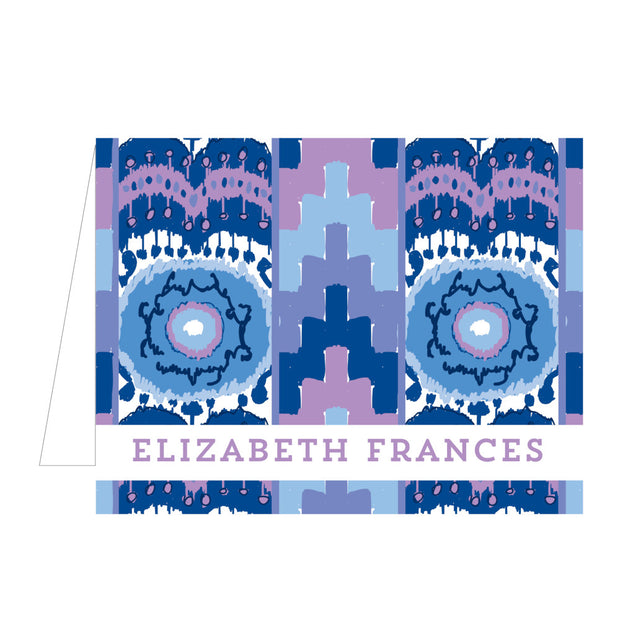 Blue Ikat Folded Notecard
